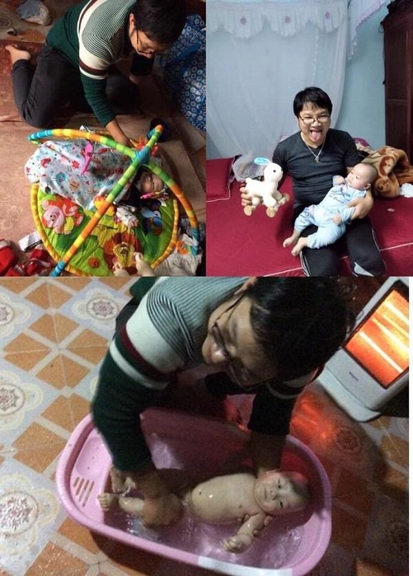 Niềm vui của ông bố trẻ khi được chăm sóc con hàng ngày